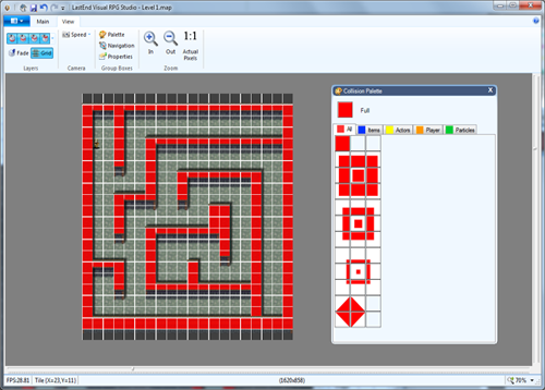 Collision mode using the maze project template with the collision pallet un-mounted.<br /><a href='http://lastend.com/Download/Visual%20RPG%20Studio.aspx'>DOWNLOAD</a>