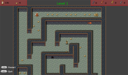 Level 1. It starts out easy but doesn't stay that way for to many levels.[br /][a href='http://lastend.com/Download/Games/Maze_Unsafe_Mine.aspx']DOWNLOAD[/a]